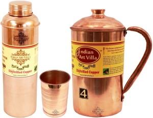 Indian art villa Set of 1 Copper Jug Pitcher with 1 Copper Glass Tumbler & 1 Bisleri Design Copper Water Bottle - Home Hotel Restaurant Tableware Water Jug Set