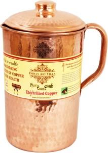 Indian art villa Copper Hammered Jug Pitcher - Storage Water Home Hotel Restaurant Tableware Drinkware Serveware Water Jug