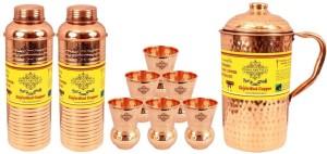 IndianArtVilla Set of 1 Jug with 2 Bottle & 6 Glass Water Jug Set