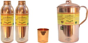 Indian Craft Villa Handmade Pure Copper 1 Jug Pitcher Capacity 2.1 Liter 1 Glass Cup Goblet Capacity 300 ML 2 Water Bottle Capacity 700 ML for Storage Water Good Health Benefits Yoga, Ayurveda Home Decorate Kitchen Dinning Ware Travel Bottle Gift Item Combo Set Water Jug Set