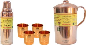 Indian Craft Villa Handmade Best Quality 100% Pure Copper 1 Jug Pitcher Capacity 2.1 Liter 4 Glass Cup Goblet Capacity 300 ML 1 Bisleri Water Bottle Capacity 700 ML for Storage Water Good Health Benefits Yoga, Ayurveda Home Decorate Kitchen Dinning Ware Travel Bottle Gift Item Combo Set Water Jug Set