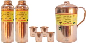 Indian Craft Villa Handmade Best Quality 100% Pure Copper 1 Jug Pitcher Capacity 2.1 Liter 4 Glass Cup Goblet With Lid Capacity 300 ML ll 2 Bottle Capacity 700 ML for Storage Good Health Benefits Yoga, Ayurveda Home Decorate Kitchen Dinning Ware Gift Item Combo Set Water Jug Set