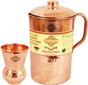 Indian art villa Hammered Copper Jug Pitcher with Glass Tumbler Cup - Storage Water Home Hotel Restaurant Tableware Serveware Water Jug Set