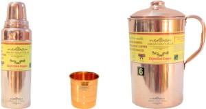 Indian Craft Villa Handmade Best Quality 100% Pure Copper 1 Jug Pitcher Capacity 2.1 Liter 1 Glass Cup Goblet Capacity 300 ML 1 Bisleri Water Bottle Capacity 700 ML for Storage Water Good Health Benefits Yoga, Ayurveda Home Decorate Kitchen Dinning Ware Travel Bottle Gift Item Combo Set Water Jug Set
