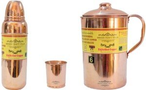 Indian Craft Villa Handmade Pure Copper 1 Jug Pitcher Capacity 2.1 Liter 1 Glass Cup Goblet With Lid Capacity 300 ML 1 Water Bottle Capacity 700 ML for Storage Water Good Health Benefits Yoga, Ayurveda Home Decorate Kitchen Dinning Ware Travel Bottle Gift Item Combo Set Water Jug Set