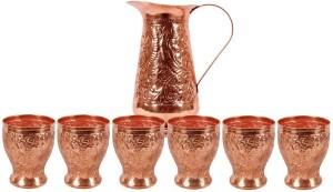 Indian art villa Copper Designer Jug with 6 Flower Designe Glass Water Jug Set