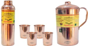 Indian Craft Villa Handmade Best Quality 100% Pure Copper 1 Jug Pitcher Capacity 2.1 Liter 4 Glass Cup Goblet With Lid Capacity 300 ML 1 Water Bottle Capacity 700 ML for Storage Water Good Health Benefits Yoga, Ayurveda Home Decorate Kitchen Dinning Ware Travel Bottle Gift Item Water Jug Set