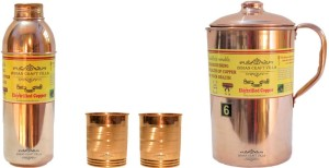 Indian Craft Villa Copper 1 Jug Pitcher Capacity 2.1 Liter 2 Glass Cup Goblet Capacity 300 ML 1 Bisleri Water Bottle Capacity 700 ML for Storage Water Good Health Benefits Yoga, Ayurveda Home Decorate Kitchen Dinning Ware Travel Bottle Gift Item Water Jug Set