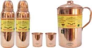 Indian Craft Villa Handmade Best Quality 100% Pure Copper 1 Jug Pitcher Capacity 2.1 Liter 2 Glass Cup Goblet With Lid Capacity 300 ML 2 Water Bottle Capacity 700 ML for Storage Water Good Health Benefits Yoga, Ayurveda Home Decorate Kitchen Dinning Ware Travel Bottle Gift Item Combo Set Water Jug Set