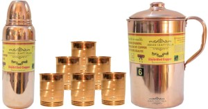 Indian Craft Villa Handmade Pure Copper 1 Jug Pitcher Capacity 2.1 Liter 6 Glass Cup Goblet Capacity 300 ML 1 Water Bottle Capacity 700 ML for Storage Water Good Health Benefits Yoga, Ayurveda Home Decorate Kitchen Dinning Ware Travel Bottle Gift Item Combo Set Water Jug Set