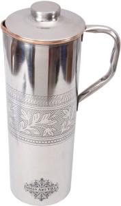 IndianArtVilla Steel Copper Fridge Embossed Design Bottle with Handle Water Jug