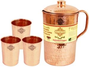 IndianArtVilla Copper Hammer Jug No.4, 3 Copper Large Flate Hammer Glass Water Jug Set