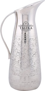Taluka (10.5 x 4 Inches ) Brass Made Silver Plated Unique Handcrafted Embossed Water Jug