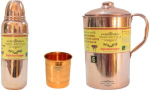 Indian Craft Villa Handmade Best Quality 100% Pure Copper 1 Jug Pitcher Capacity 2.1 Liter 1 Glass Cup Goblet Capacity 300 ML 1 Water Bottle Capacity 700 ML for Storage Water Good Health Benefits Yoga, Ayurveda Home Decorate Kitchen Dinning Ware Travel Bottle Gift Item Combo Set Water Jug Set