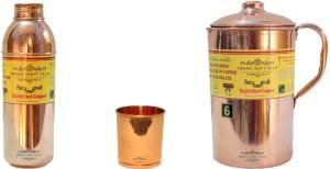 Indian Craft Villa 1 Bottle ll 1 Glass ll 1 Jug Good Health Benefits Yoga, Ayurveda Home Decorate Kitchen Dinning Ware Travel Bottle Gift Item Water Jug Set