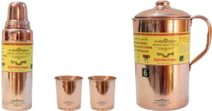 Indian Craft Villa Handmade Copper 1 Jug Pitcher Capacity 2.1 Liter 2 Glass Cup Goblet With Lid Capacity 300 ML 1 Water Bottle Capacity 700 ML for Storage Water Good Health Benefits Yoga, Ayurveda Home Decorate Kitchen Dinning Ware Travel Bottle Gift Item Combo Set Water Jug Set