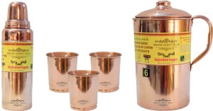 Indian Craft Villa Handmade Copper 1 Jug Pitcher Capacity 2.1 Liter 3 Glass Cup Goblet With Lid Capacity 300 ML 1 Water Bottle Capacity 700 ML for Storage Water Good Health Benefits Yoga, Ayurveda Home Decorate Kitchen Dinning Ware Travel Bottle Gift Item Combo Set Water Jug Set