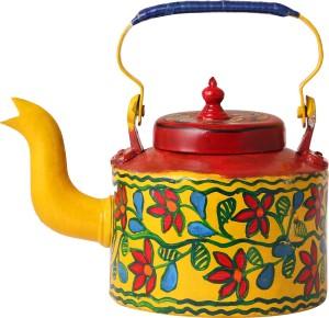 iMithila Madhubani Folk Art Designer Handpainted Tea/Coffee Kettle in Mithila Style in Yellow Background Kettle Jug