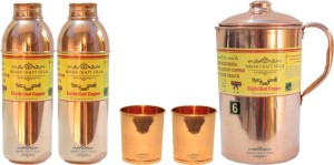 Indian Craft Villa Handmade Pure Copper 1 Jug Pitcher Capacity 2.1 Liter 2 Glass Cup Goblet Capacity 300 ML 2 Water Bottle Capacity 700 ML for Storage Water Good Health Benefits Yoga, Ayurveda Home Decorate Kitchen Dinning Ware Travel Bottle Gift Item Combo Set Water Jug Set