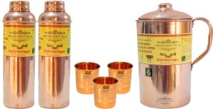 Indian Craft Villa Handmade Best Quality 100% Pure Copper 1 Jug Pitcher Capacity 2.1 Liter 3 Glass Cup Goblet Capacity 300 ML 2 Water Bottle Capacity 700 ML for Storage Water Good Health Benefits Yoga, Ayurveda Home Decorate Kitchen Dinning Ware Travel Bottle Gift Item Combo Set Water Jug Set