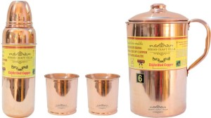 Indian Craft Villa InHandmade Best Quality 100% Pure Copper 1 Jug Pitcher Capacity 2.1 Liter 2 Glass Cup Goblet With Lid Capacity 300 ML 1 Water Bottle Capacity 700 ML for Storage Water Good Health Benefits Yoga, Ayurveda Home Decorate Kitchen Dinning Ware Travel Bottle Gift Item Combo Set Water Jug Set