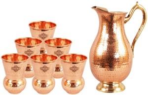 Indian art villa Copper Nickel Hammered Jug Pitcher with 6 Copper Hammered Glass Tumbler Cup - Storage Water Home Hotel Restaurant Tableware Serveware Water Jug Set
