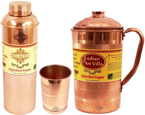 IndianArtVilla Copper Set of 1 Jug with 1 Glass & 1 Bottle Water Jug