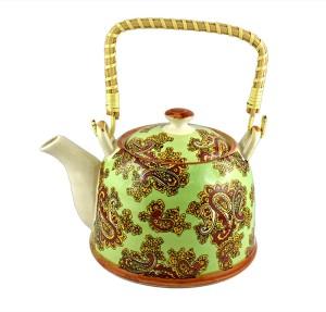 BARWORLD Porcelain Teapot With Cane Handle Kettle Jug