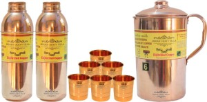 Indian Craft Villa Handmade Best Quality 100% Pure Copper 1 Jug Pitcher Capacity 2.1 Liter 6 Glass Cup Goblet Capacity 300 ML 2 Water Bottle Capacity 700 ML for Storage Water Good Health Benefits Yoga, Ayurveda Home Decorate Kitchen Dinning Ware Travel Bottle Gift Item Combo Set Water Jug Set
