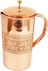 Indian art villa Copper Embossed Design Jug with Welded Handle - Top Quality Water Jug