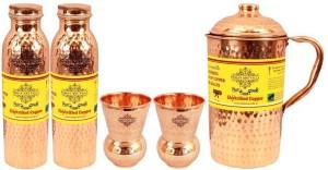 IndianArtVilla Set of 1 Jug with 2 Bottle & 2 Glass Water Jug Set