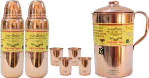 Indian Craft Villa Pure Copper 1 Jug Pitcher Capacity 2.1 Liter 4 Glass Cup Goblet With Lid Capacity 300 ML 2 Water Bottle Capacity 700 ML for Storage Water Good Health Benefits Yoga, Ayurveda Home Decorate Kitchen Dinning Ware Travel Bottle Gift Item Combo Set Water Jug Set