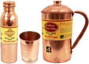 Indian art villa Copper Plain Jug no.4 with 1 Copper Glass with 2 Q7 Bottle no.1 Water Jug Set