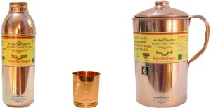 Indian Craft Villa Handmade Copper 1 Jug Pitcher Capacity 2.1 Liter 1 Glass Cup Goblet Capacity 300 ML 1 Bisleri Water Bottle Capacity 700 ML for Storage Water Good Health Benefits Yoga, Ayurveda Home Decorate Kitchen Dinning Ware Travel Bottle Gift Item Combo Set Water Jug Set