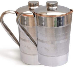 Tarun Traders Copper Steel Diamond 2L Combo Water Jug Set