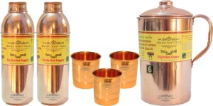Indian Craft Villa Handmade Pure Copper 1 Jug Pitcher Capacity 2.1 Liter 3 Glass Cup Goblet Capacity 300 ML 2 Water Bottle Capacity 700 ML for Storage Water Good Health Benefits Yoga, Ayurveda Home Decorate Kitchen Dinning Ware Travel Bottle Gift Item Combo Set Water Jug Set