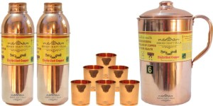 Indian Craft Villa Handmade Copper 1 Jug Pitcher Capacity 2.1 Liter 6 Glass Cup Goblet Capacity 300 ML 2 Water Bottle Capacity 700 ML for Storage Water Good Health Benefits Yoga, Ayurveda Home Decorate Kitchen Dinning Ware Travel Bottle Gift Item Water Jug Set