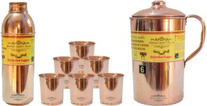 Indian Craft Villa Copper 1 Jug Pitcher Capacity 2.1 Liter 6 Glass Cup Goblet With Lid Capacity 300 ML 1 Water Bottle Capacity 700 ML for Storage Water Good Health Benefits Yoga, Ayurveda Home Decorate Kitchen Dinning Ware Travel Bottle Gift Item Combo Set Water Jug Set