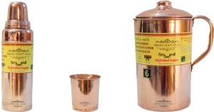 Indian Craft Villa Handmade Copper 1 Jug Pitcher Capacity 2.1 Liter 1 Glass Cup Goblet With Lid Capacity 300 ML 1 Water Bottle Capacity 700 ML for Storage Water Good Health Benefits Yoga, Ayurveda Home Decorate Kitchen Dinning Ware Travel Bottle Gift Item Combo Set Water Jug Set