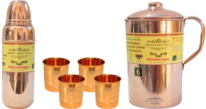 Indian Craft Villa Handmade Pure Copper 1 Jug Pitcher Capacity 2.1 Liter 4 Glass Cup Goblet Capacity 300 ML 1 Water Bottle Capacity 700 ML for Storage Water Good Health Benefits Yoga, Ayurveda Home Decorate Kitchen Dinning Ware Travel Bottle Gift Item Combo Set Water Jug Set