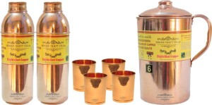 Indian Craft Villa Copper 1 Jug Pitcher Capacity 2.1 Liter 4 Glass Cup Goblet Capacity 300 ML 2 Water Bottle Capacity 700 ML for Storage Water Good Health Benefits Yoga, Ayurveda Home Decorate Kitchen Dinning Ware Travel Bottle Gift Item Combo Set Water Jug Set