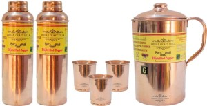 Indian Craft Villa Handmade Best Quality 100% Pure Copper 1 Jug Pitcher Capacity 2.1 Liter 3 Glass Cup Goblet With Lid Capacity 300 ML 2 Water Bottle Capacity 700 ML for Storage Water Good Health Benefits Yoga, Ayurveda Home Decorate Kitchen Dinning Ware Travel Bottle Gift Item Combo Set Water Jug Set