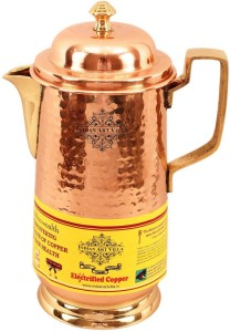 IndianArtVilla Copper Hammered Water Jug with Brass Handle and Stand Water Jug