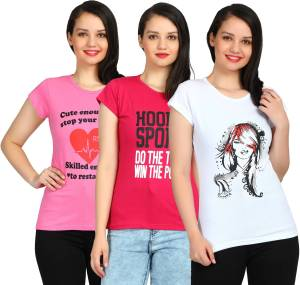 Fasha Women Pink, Pink, White T Shirt