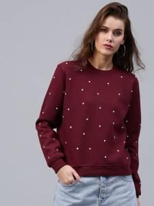 SASSAFRAS Women Maroon Sweatshirt