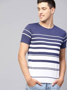 Seven Rocks Regular Fit Men's Cotton T-Shirt ( M-T49HS-PBWH, Prussian Blue-White, M )