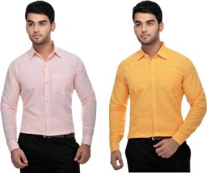 Gagan Enterprises Men Solid Formal Multicolor Shirt Pack of 2