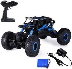 Kidz N Toys Remote Controlled Rock Crawler RC Monster Truck, 4 Wheel Drive, 1:18 Scale (Blue, Black)