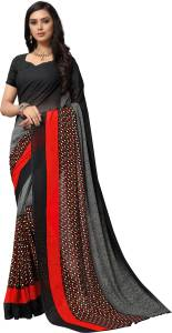 Payal Black Faux Georgette Ombre Printed Daily Wear,Casual Wear Saree With Un-Stitched Blouse Piece For Women (Black)
