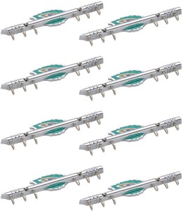 Doyours 8 Pc Antique Designer Chrome Mino Hooks 6 - Pronged Hook Rail